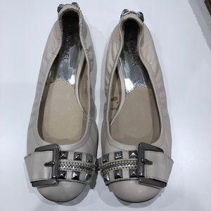 Michael Kors Cream Leather Stud Ballerina Flats